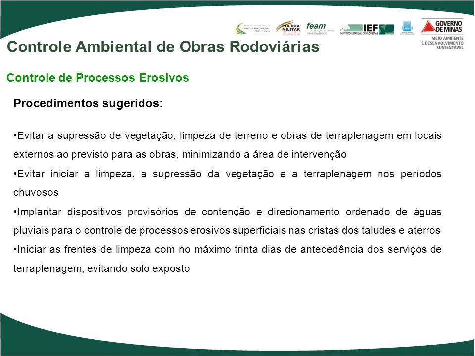 Procedimentos sugeridos: Evitar a supressão de vegetação, limpeza de terreno e obras de terraplenagem em locais externos ao previsto para as obras, mi