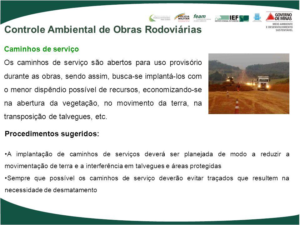 Procedimentos sugeridos: A implantação de caminhos de serviços deverá ser planejada de modo a reduzir a movimentação de terra e a interferência em tal