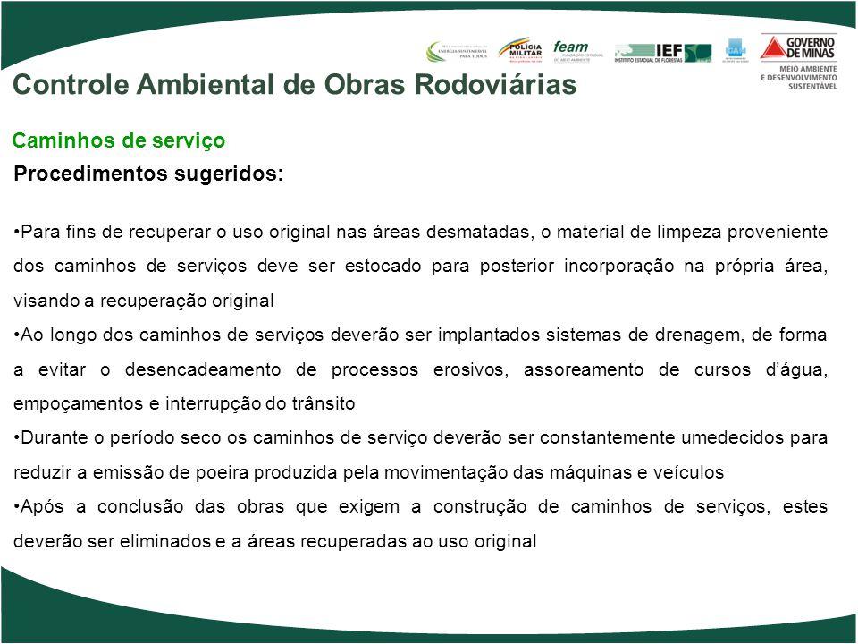 Procedimentos sugeridos: Para fins de recuperar o uso original nas áreas desmatadas, o material de limpeza proveniente dos caminhos de serviços deve s