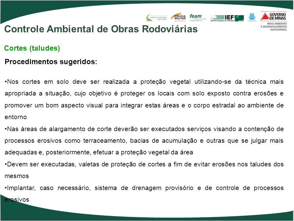 Procedimentos sugeridos: Nos cortes em solo deve ser realizada a proteção vegetal utilizando-se da técnica mais apropriada a situação, cujo objetivo é