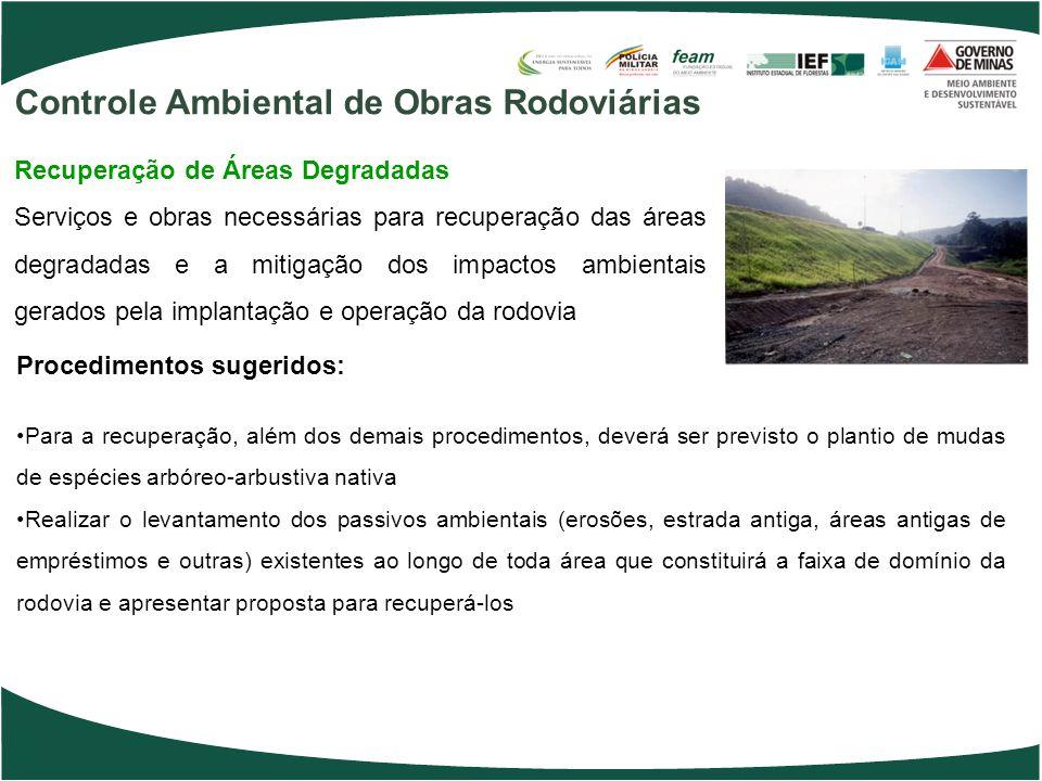 Procedimentos sugeridos: Para a recuperação, além dos demais procedimentos, deverá ser previsto o plantio de mudas de espécies arbóreo-arbustiva nativ