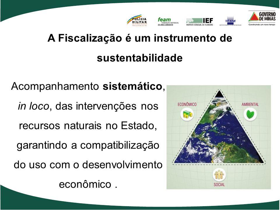 A Fiscalização é um instrumento de sustentabilidade Acompanhamento sistemático, in loco, das intervenções nos recursos naturais no Estado, garantindo a compatibilização do uso com o desenvolvimento econômico.