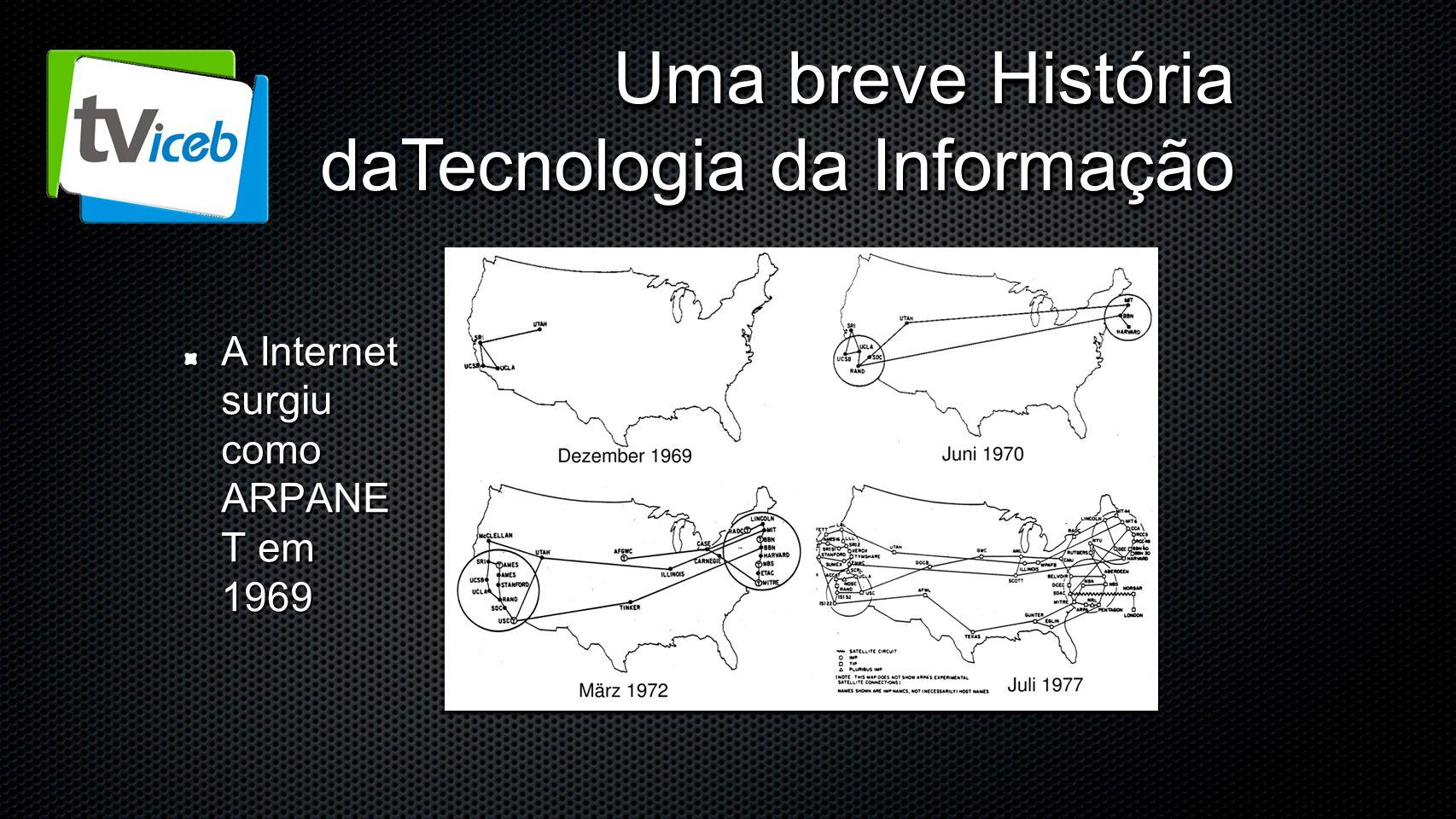 Uma breve História daTecnologia da Informação A Internet surgiu como ARPANE T em 1969