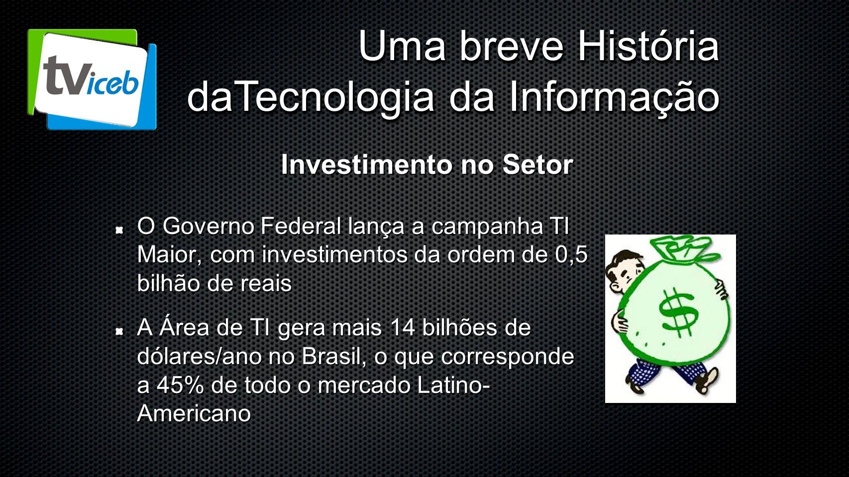 Uma breve História daTecnologia da Informação O Governo Federal lança a campanha TI Maior, com investimentos da ordem de 0,5 bilhão de reais A Área de