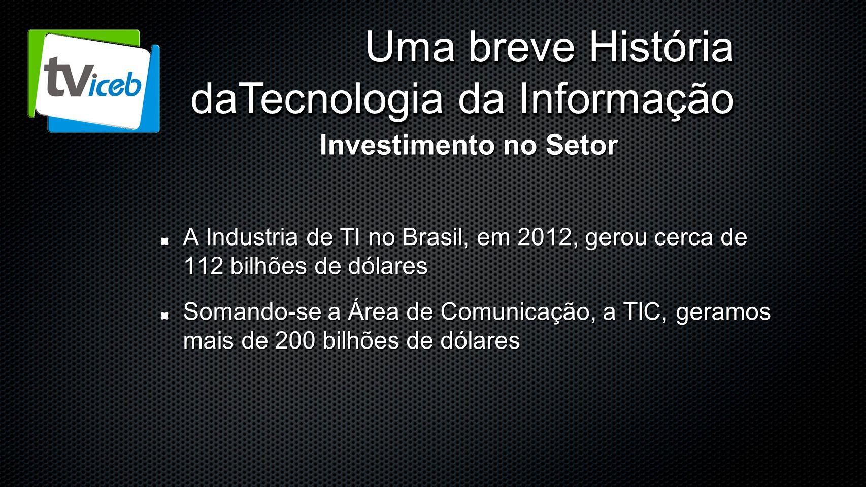 Uma breve História daTecnologia da Informação A Industria de TI no Brasil, em 2012, gerou cerca de 112 bilhões de dólares Somando-se a Área de Comunic