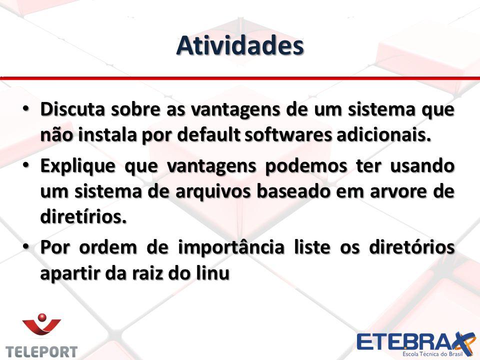 Atividades Discuta sobre as vantagens de um sistema que não instala por default softwares adicionais. Discuta sobre as vantagens de um sistema que não