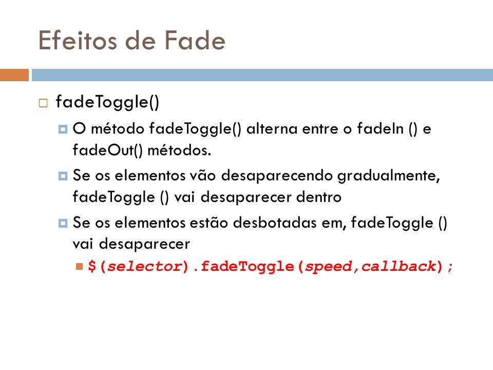Efeitos de Fade fadeToggle() O método fadeToggle() alterna entre o fadeIn () e fadeOut() métodos.