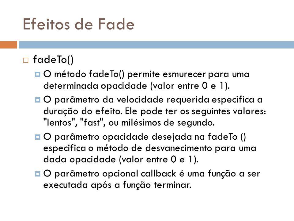 Efeitos de Fade fadeTo() O método fadeTo() permite esmurecer para uma determinada opacidade (valor entre 0 e 1).