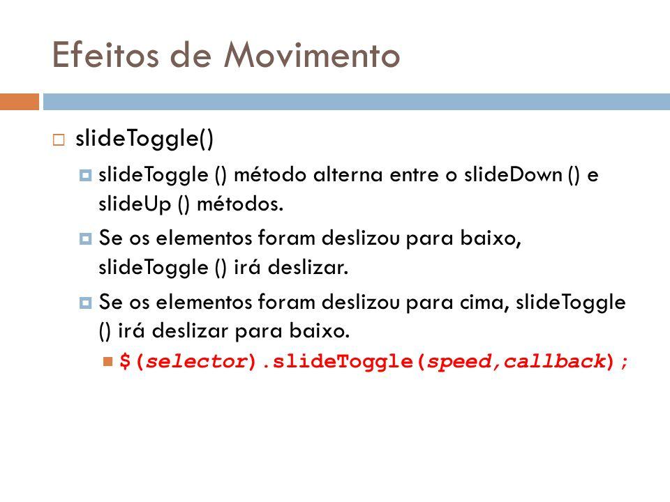 Efeitos de Movimento slideToggle() slideToggle () método alterna entre o slideDown () e slideUp () métodos.