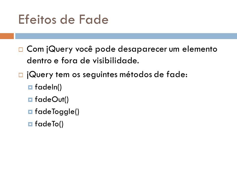 Efeitos de Fade Com jQuery você pode desaparecer um elemento dentro e fora de visibilidade.
