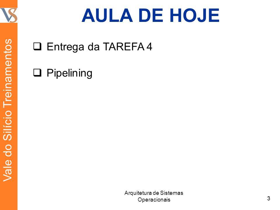 AULA DE HOJE Entrega da TAREFA 4 Pipelining 3 Arquitetura de Sistemas Operacionais Vale do Silício Treinamentos