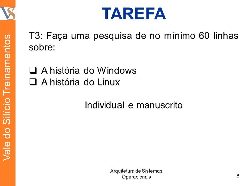 TAREFA T3: Faça uma pesquisa de no mínimo 60 linhas sobre: A história do Windows A história do Linux Individual e manuscrito 8 Arquitetura de Sistemas Operacionais Vale do Silício Treinamentos