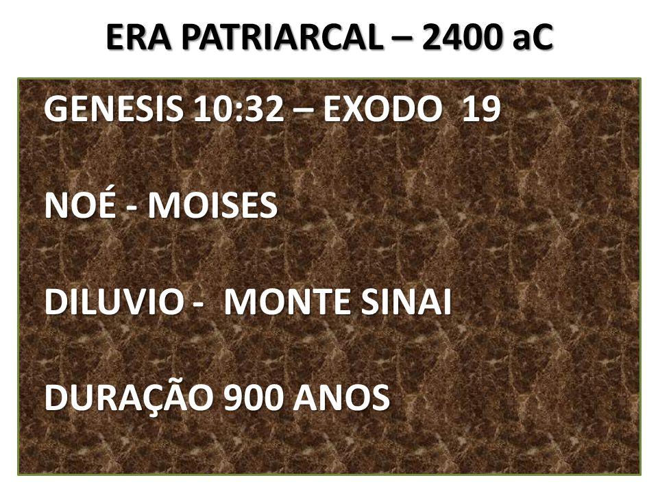 ERA PATRIARCAL – 2400 aC GENESIS 10:32 – EXODO 19 GENESIS 10:32 – EXODO 19 NOÉ - MOISES NOÉ - MOISES DILUVIO - MONTE SINAI DILUVIO - MONTE SINAI DURAÇ