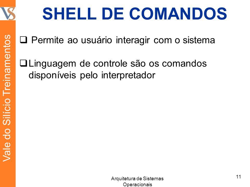 SHELL DE COMANDOS Permite ao usuário interagir com o sistema Linguagem de controle são os comandos disponíveis pelo interpretador 11 Arquitetura de Sistemas Operacionais Vale do Silício Treinamentos