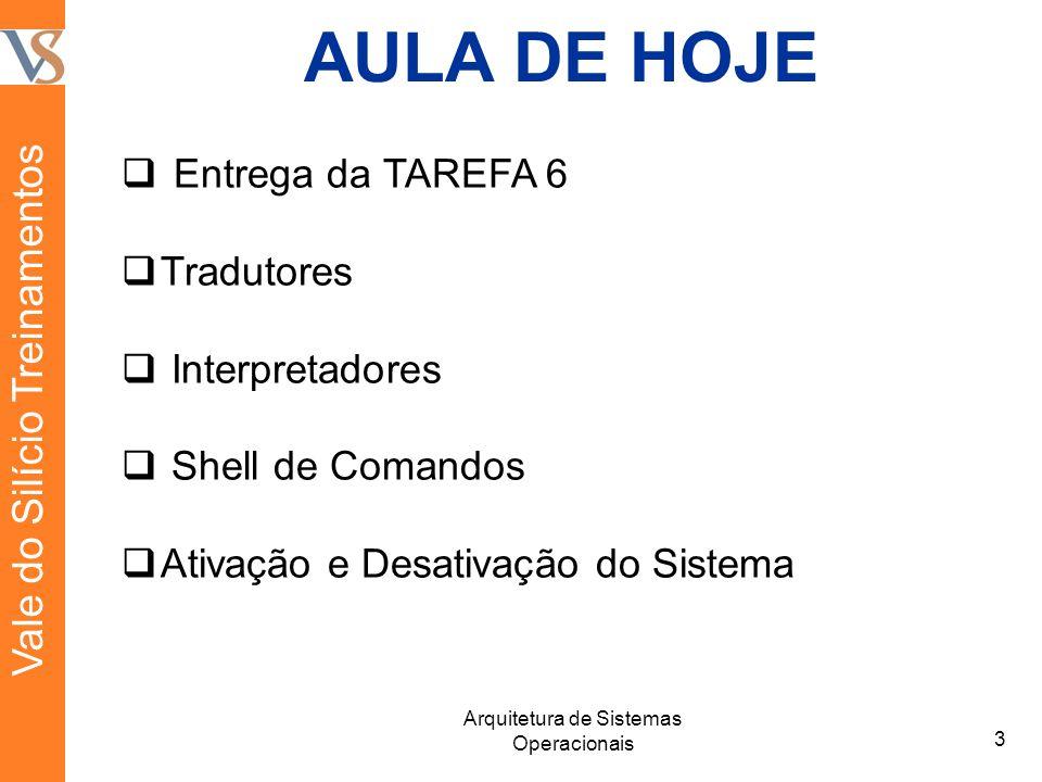 AULA DE HOJE Entrega da TAREFA 6 Tradutores Interpretadores Shell de Comandos Ativação e Desativação do Sistema 3 Arquitetura de Sistemas Operacionais Vale do Silício Treinamentos