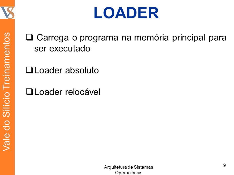 LOADER Carrega o programa na memória principal para ser executado Loader absoluto Loader relocável 9 Arquitetura de Sistemas Operacionais Vale do Silício Treinamentos