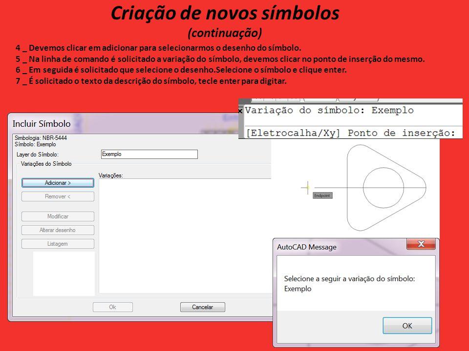 Criação de novos símbolos (continuação) 4 _ Devemos clicar em adicionar para selecionarmos o desenho do símbolo.