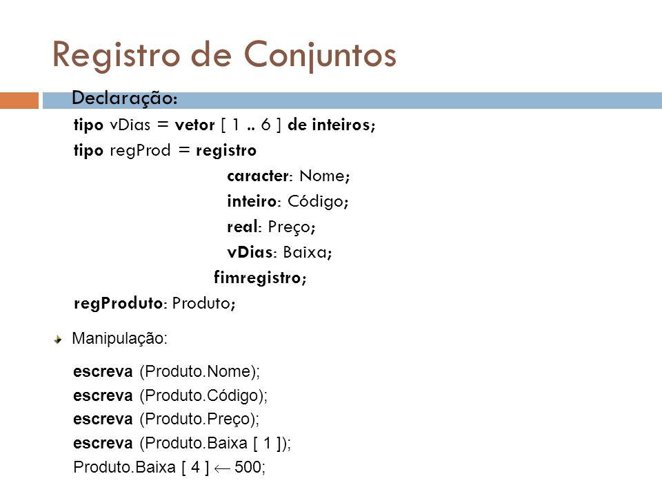 Registro de Conjuntos Declaração: tipo vDias = vetor [ 1.. 6 ] de inteiros; tipo regProd = registro caracter: Nome; inteiro: Código; real: Preço; vDia