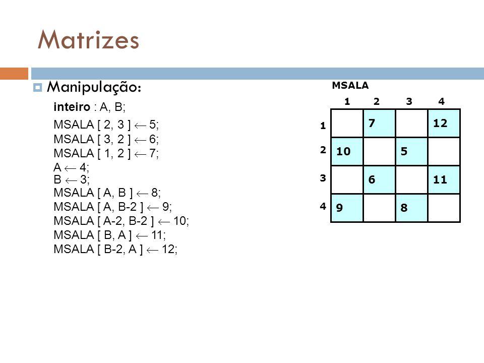 Matrizes Manipulação: 1 2 3 4 inteiro : A, B; MSALA [ 2, 3 ] 5; MSALA MSALA [ 3, 2 ] 6; MSALA [ 1, 2 ] 7; A 4; MSALA [ A, B ] 8; MSALA [ A, B-2 ] 9; M