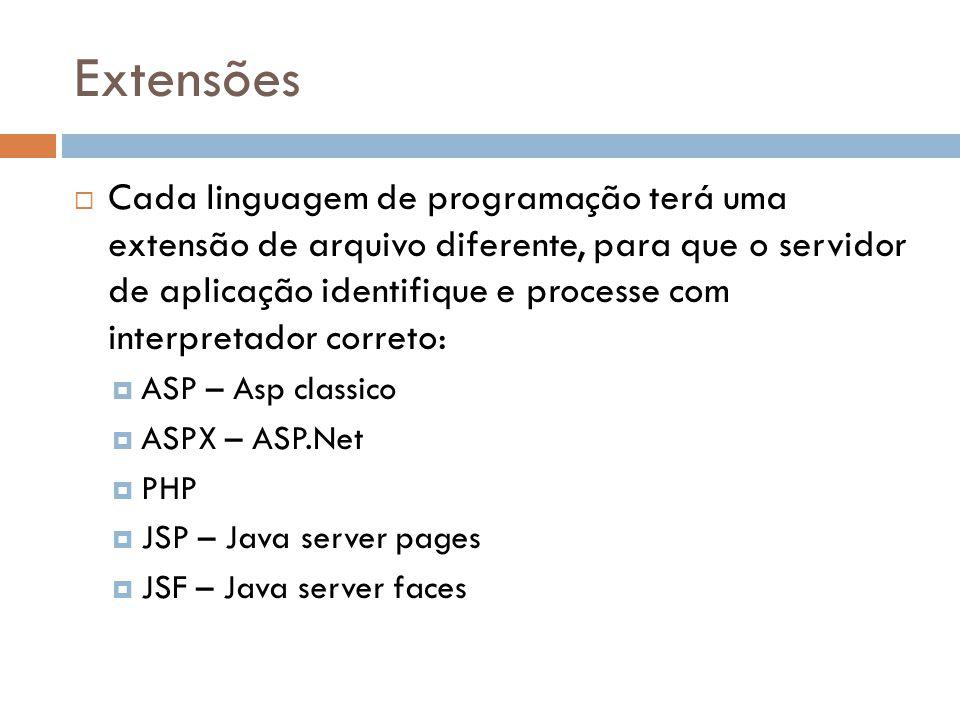 Extensões Cada linguagem de programação terá uma extensão de arquivo diferente, para que o servidor de aplicação identifique e processe com interpretador correto: ASP – Asp classico ASPX – ASP.Net PHP JSP – Java server pages JSF – Java server faces