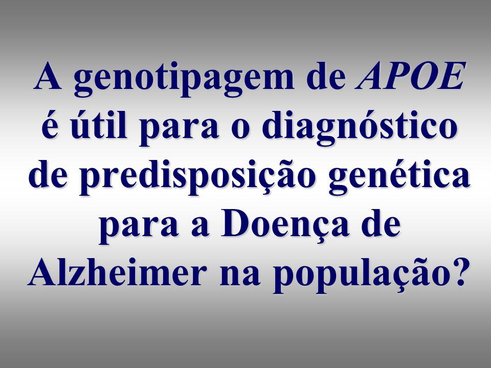 A genotipagem de APOE é útil para o diagnóstico de predisposição genética para a Doença de Alzheimer na população?