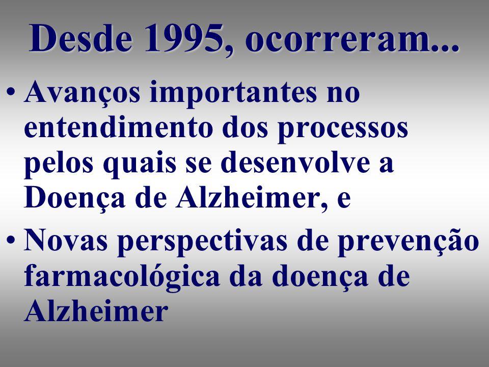 Avanços importantes no entendimento dos processos pelos quais se desenvolve a Doença de Alzheimer, e Novas perspectivas de prevenção farmacológica da doença de Alzheimer Desde 1995, ocorreram...