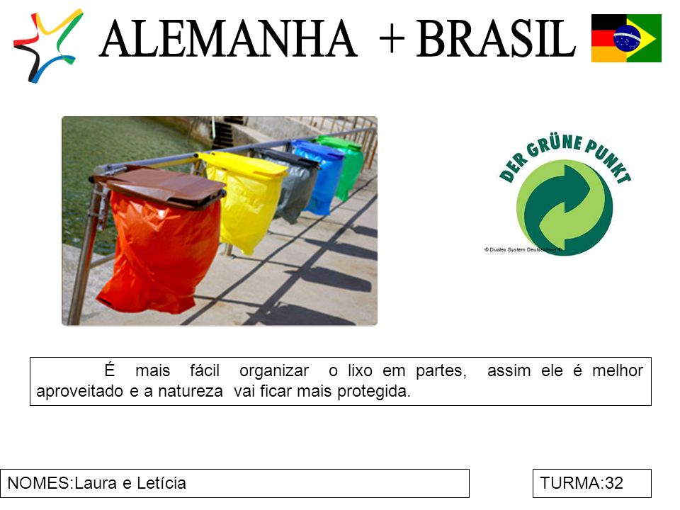 NOMES:Laura e LetíciaTURMA:32 É mais fácil organizar o lixo em partes, assim ele é melhor aproveitado e a natureza vai ficar mais protegida.