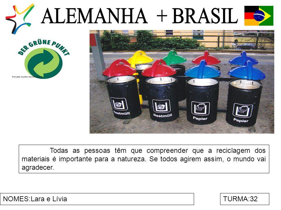 NOMES:Lara e LíviaTURMA:32 Todas as pessoas têm que compreender que a reciclagem dos materiais é importante para a natureza.