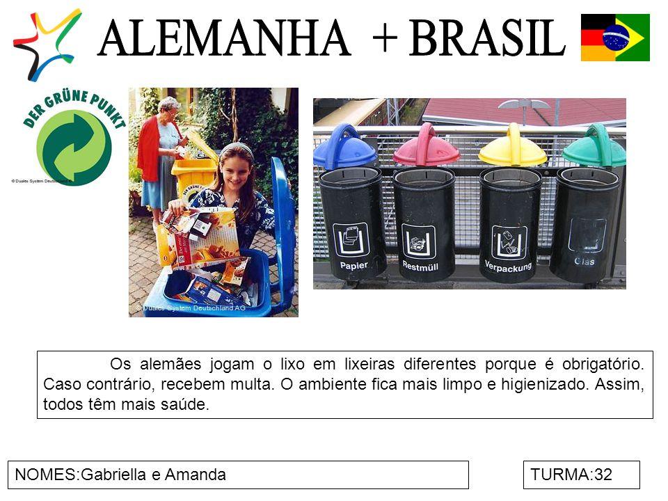 NOMES:Gabriella e AmandaTURMA:32 Os alemães jogam o lixo em lixeiras diferentes porque é obrigatório.