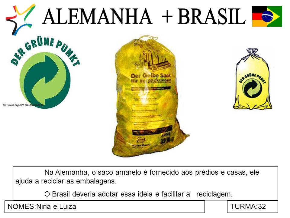NOMES:Nina e LuizaTURMA:32 Na Alemanha, o saco amarelo é fornecido aos prédios e casas, ele ajuda a reciclar as embalagens.