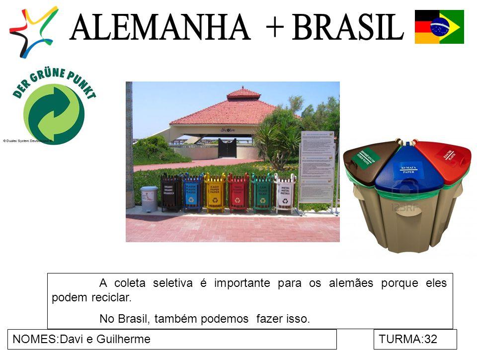 NOMES:Davi e GuilhermeTURMA:32 A coleta seletiva é importante para os alemães porque eles podem reciclar.