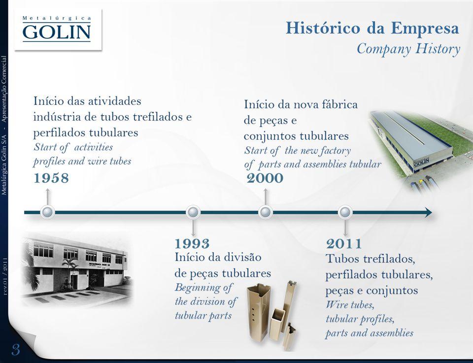 rev.01 / 2011 Tubos de Precisão Precision Tubes (Diam < 8) Capacity All Companies (Brazil) Ton/year Ton/year SEAMLESS (S/C)83k 92k ERW (C/C)70k120k GOLIN 8k 12k C/C = 85% / S/C = 15% 14