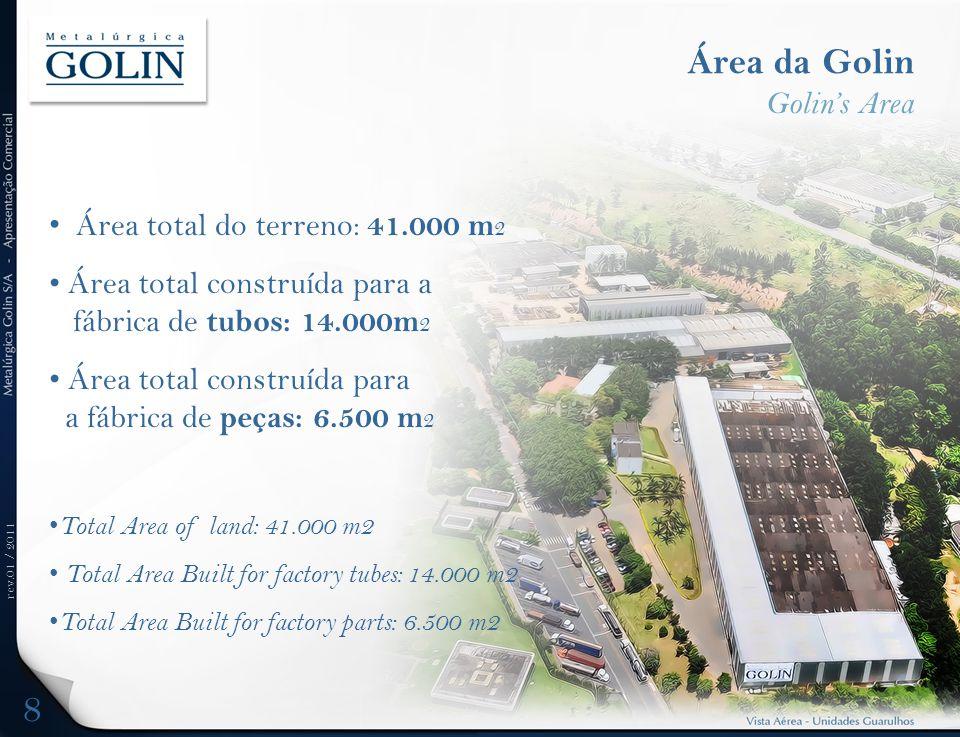 rev.01 / 2011 Área da Golin Golins Area Área total do terreno: 41.000 m 2 Área total construída para a fábrica de tubos: 14.000m 2 Área total construí