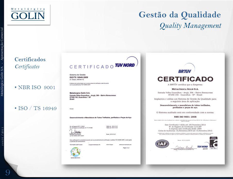 rev.01 / 2011 Gestão da Qualidade Quality Management Certificados Certificates NBR ISO 9001 ISO / TS 16949 9