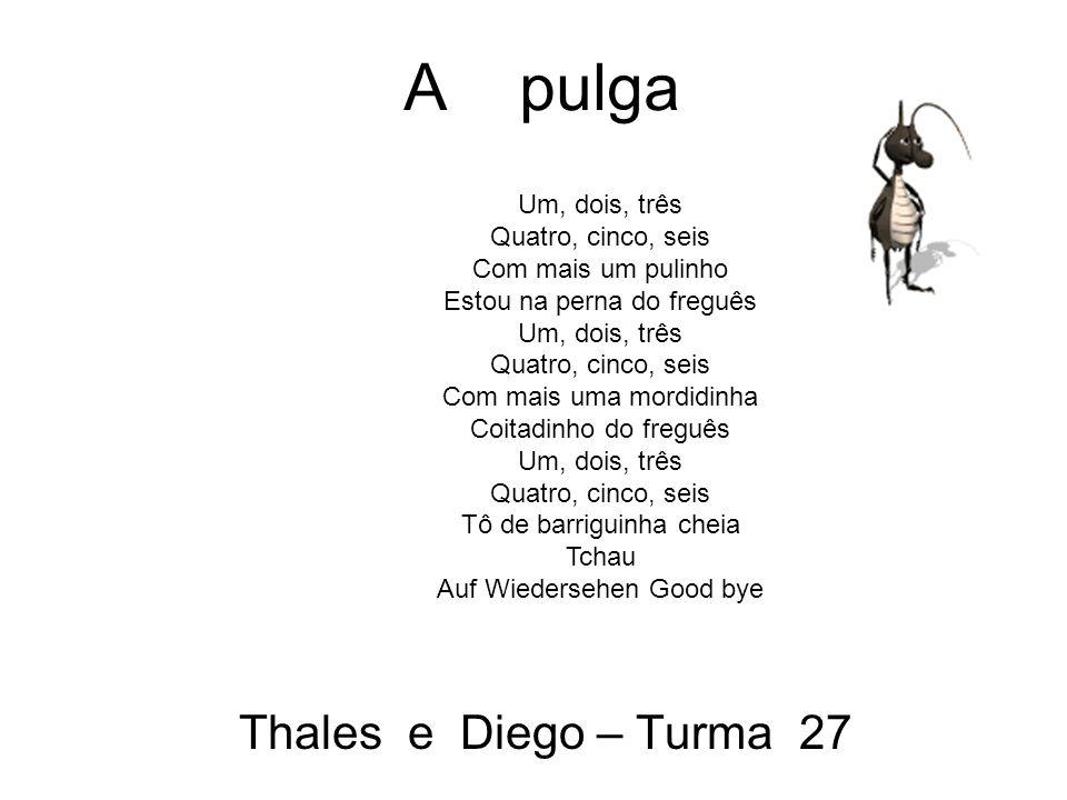 A pulga Thales e Diego – Turma 27 Um, dois, três Quatro, cinco, seis Com mais um pulinho Estou na perna do freguês Um, dois, três Quatro, cinco, seis Com mais uma mordidinha Coitadinho do freguês Um, dois, três Quatro, cinco, seis Tô de barriguinha cheia Tchau Auf Wiedersehen Good bye