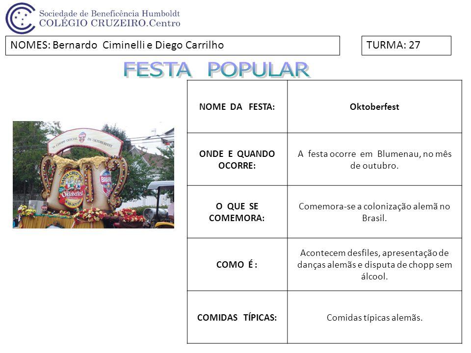 NOME DA FESTA:Festa da uva.ONDE E QUANDO OCORRE: Em Caxias do Sul, a cada dois anos.
