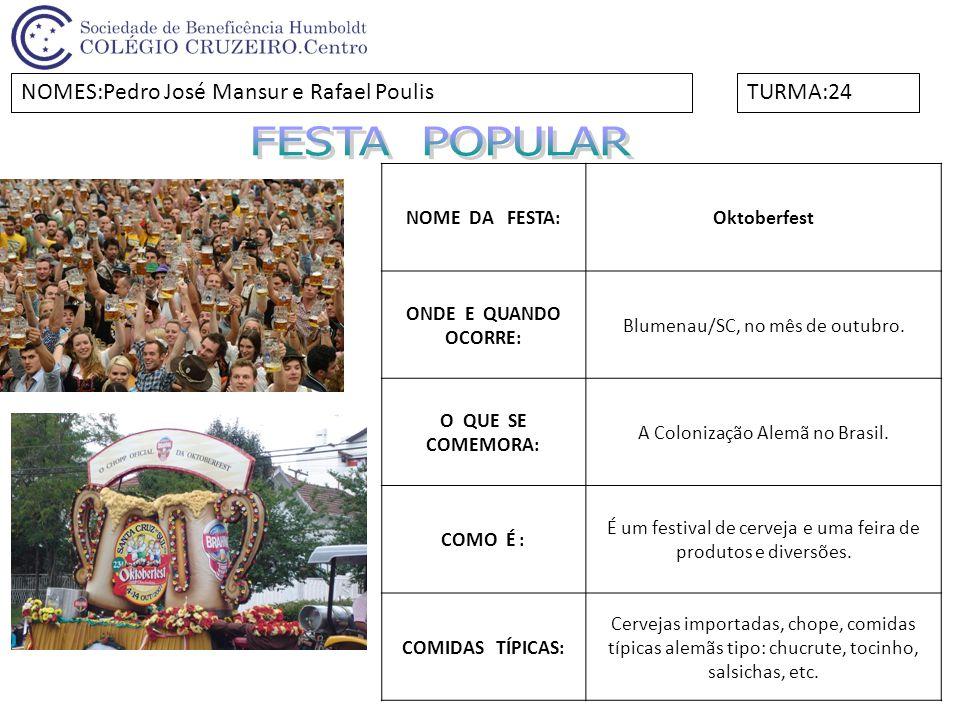 NOME DA FESTA: Festival de Parintins ONDE E QUANDO OCORRE: Atualmente no último fim de semana de junho na cidade de Parintins, Amazonas.