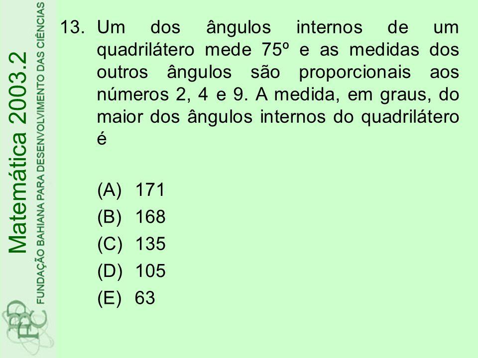 14.A expressão é igual a (A) (B) (C) (D) (E) Matemática 2003.2