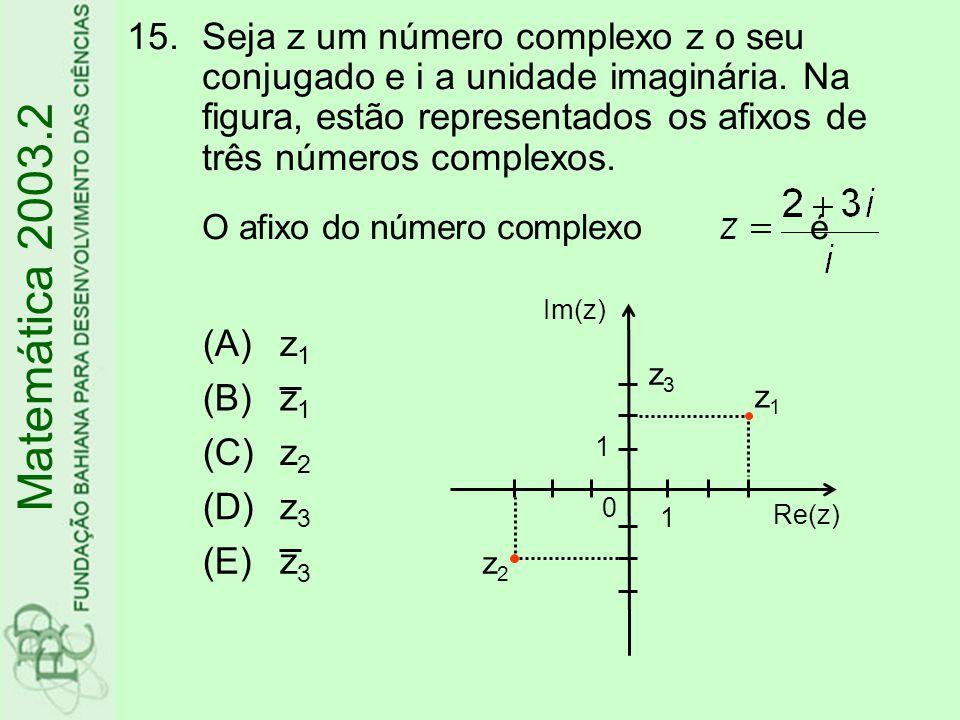 16.A equação x²-y²+4x+4y=0 representa no plano cartesiano (A)uma hipérbole (B)uma elipse (C)uma circunferência (D)uma parábola (E)duas retas Matemática 2003.2
