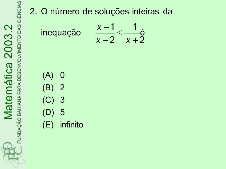 3.As curvas I e II na figura abaixo representam, respectivamente, os gráficos das funções reais f e g Se f(a)=1, então g(a) Matemática 2003.2 (A)é igual a 1 (B)é igual a 2 (C)está entre 1 e 2 (D)está entre 2 e 3 (E)está entre 3 e 4 y II I 0 x 4 3 2 1 4 3 21