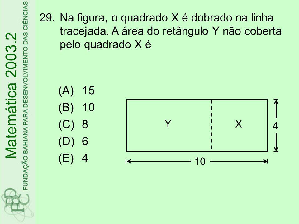 30.Dados os vértices A(1;1), B(3;-4) e C(-5;2) de um triângulo, o comprimento da mediana que tem uma extremidade no vértice A é Matemática 2003.2 (A) (B) (C) (D) (E)