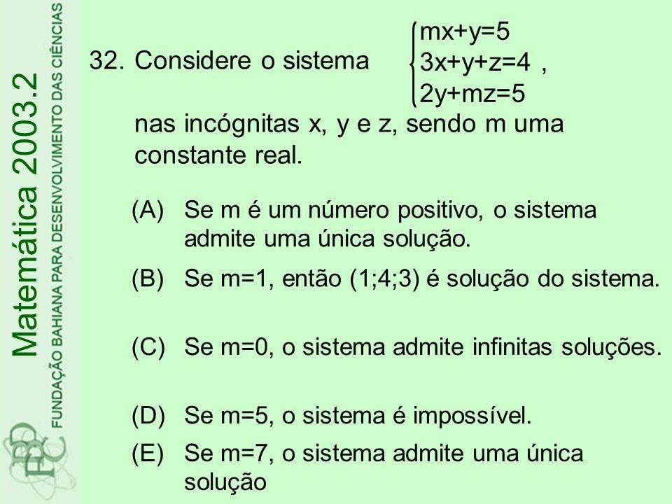 33.O n-ésimo termo da Progressão Geométrica é (A) (B) (C) (D) (E) Matemática 2003.2