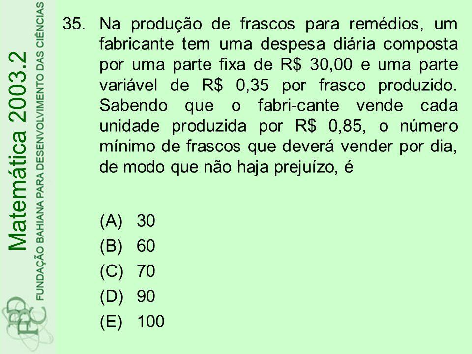 35.Na produção de frascos para remédios, um fabricante tem uma despesa diária composta por uma parte fixa de R$ 30,00 e uma parte variável de R$ 0,35
