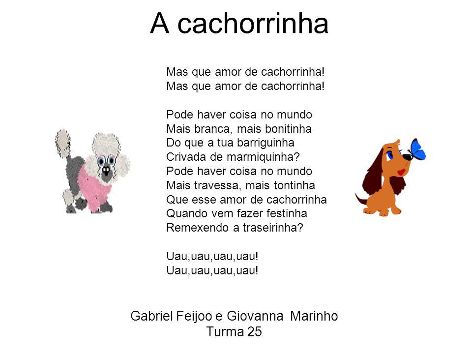 A cachorrinha Gabriel Feijoo e Giovanna Marinho Turma 25 Mas que amor de cachorrinha.