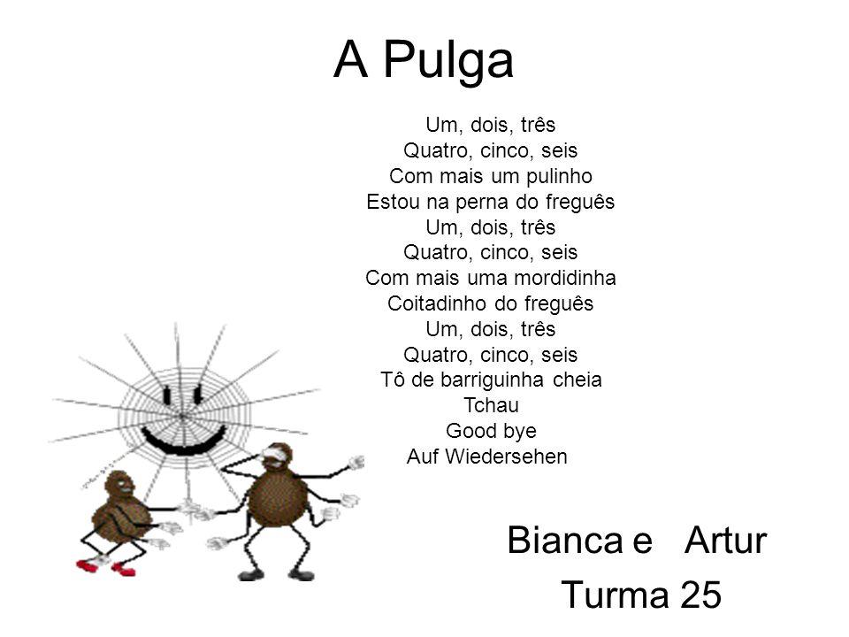 A Pulga Bianca e Artur Turma 25 Um, dois, três Quatro, cinco, seis Com mais um pulinho Estou na perna do freguês Um, dois, três Quatro, cinco, seis Com mais uma mordidinha Coitadinho do freguês Um, dois, três Quatro, cinco, seis Tô de barriguinha cheia Tchau Good bye Auf Wiedersehen