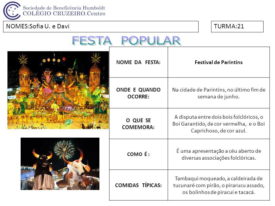 NOME DA FESTA:Festival de Parintins ONDE E QUANDO OCORRE: Na cidade de Parintins, no último fim de semana de junho. O QUE SE COMEMORA: A disputa entre