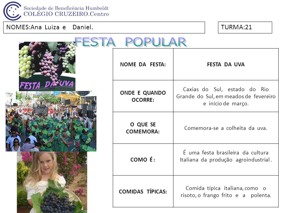 NOME DA FESTA:FESTA DA UVA ONDE E QUANDO OCORRE: Caxias do Sul, estado do Rio Grande do Sul, em meados de fevereiro e início de março. O QUE SE COMEMO