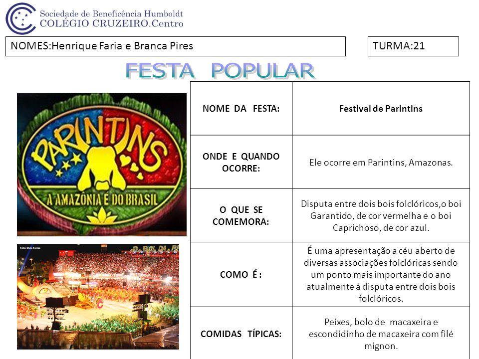 NOME DA FESTA:Festival de Parintins ONDE E QUANDO OCORRE: Ele ocorre em Parintins, Amazonas. O QUE SE COMEMORA: Disputa entre dois bois folclóricos,o