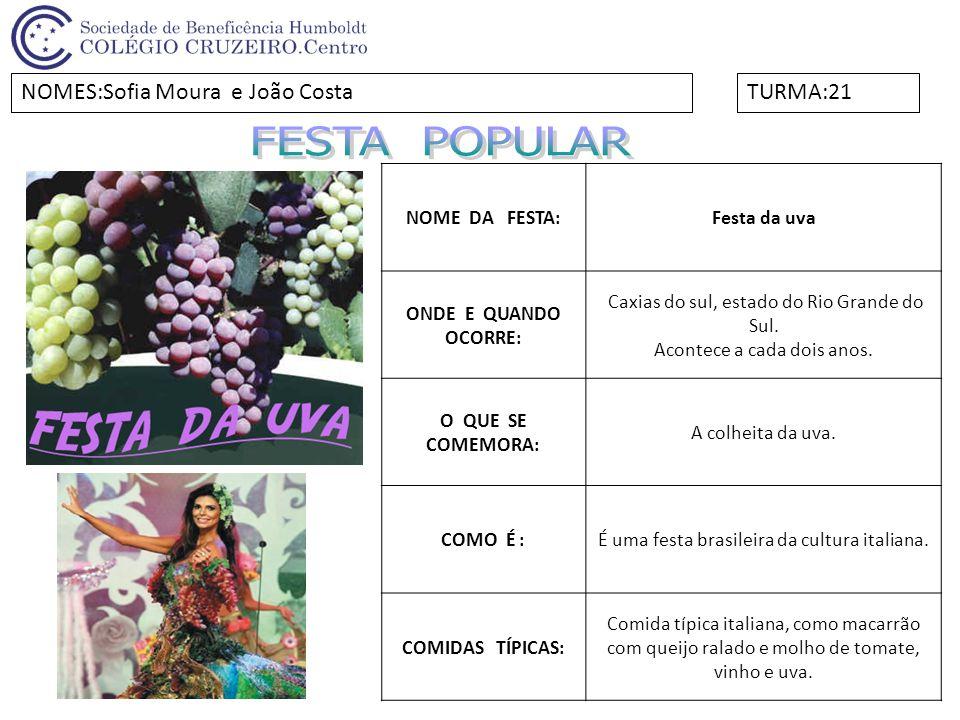 NOME DA FESTA:Festa da uva ONDE E QUANDO OCORRE: Caxias do sul, estado do Rio Grande do Sul. Acontece a cada dois anos. O QUE SE COMEMORA: A colheita