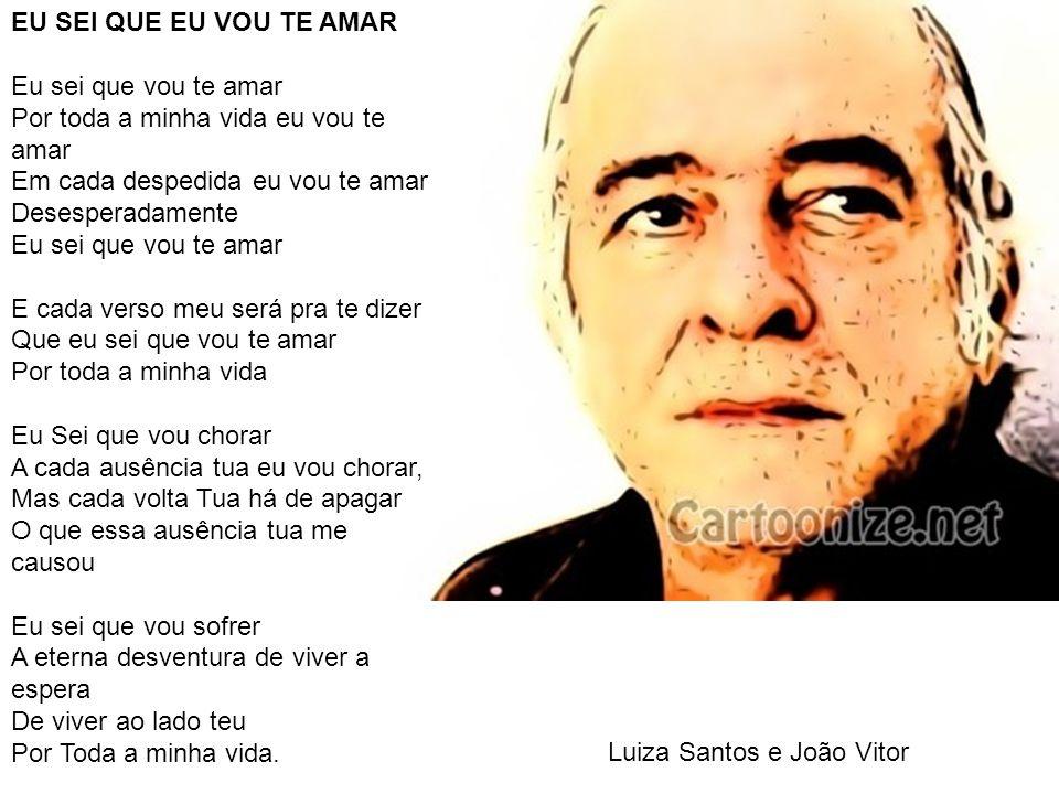 Luiza Santos e João Vitor EU SEI QUE EU VOU TE AMAR Eu sei que vou te amar Por toda a minha vida eu vou te amar Em cada despedida eu vou te amar Deses